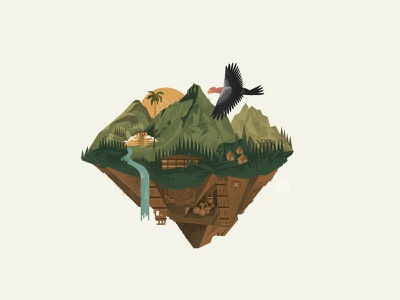Colombia ancient pyramid wildlife jungle mountains map island
