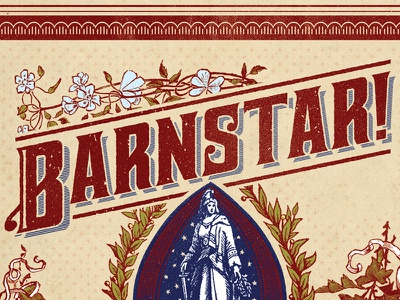 Barnstar! folk antique texture country playing cards etching