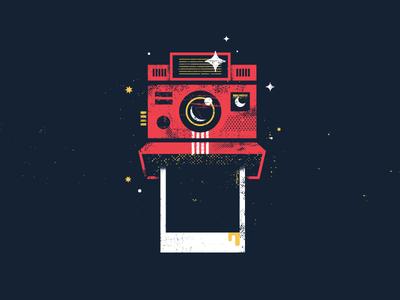 Polaroid retro sparkle texture camera