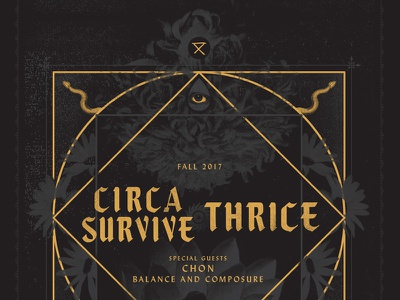 Circa Survive   Thrice flowers snakes occult all seeing eye tour poster
