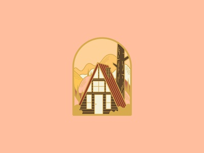 Autumn A-Frame camping enamel pin mountains woods cabin fall