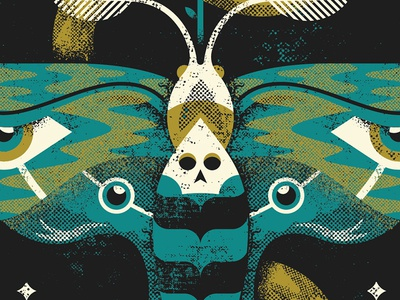Death Moth eyes slime green skull butterfly moth