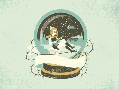 A Girl in a Snowglobe christmas illustration texture snow winter