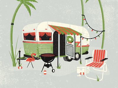 Trailer Park Christmas poster holiday hillbilly redneck white trash flamingo vector texture illustration camper trailer palm tree