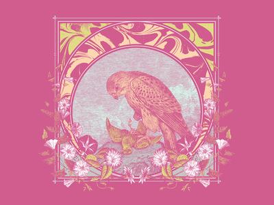 Bird of Prey harter woodcut engraving flowers eagle japan psychedelic