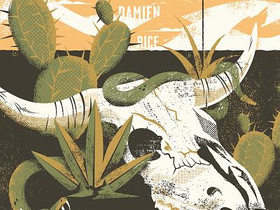 Damien Rice SW Poster cactus snake skull southwest desert