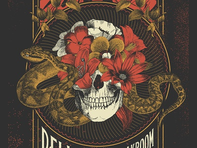 Pelican Poster gig poster poster texture engraving etching snake flowers skull