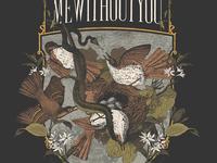 Brown bird, common bird, how's your little twig nest been? birds flowers music band shirt texture