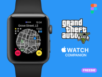 GTA 5 Companion for Apple Watch gta5 watch ui apple watch mockup apple watch design watchos figma freebie grand theft auto companion gaming companion gta v apple watch gta 5