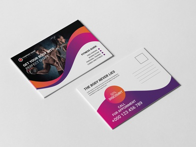 Gym Post Card Design Template brochure a6 6x4 postcard 3d stationery	 10x15 postcard showcase print ready print postcard postal post card mockup mailing mail letter invitation greeting envelope display card