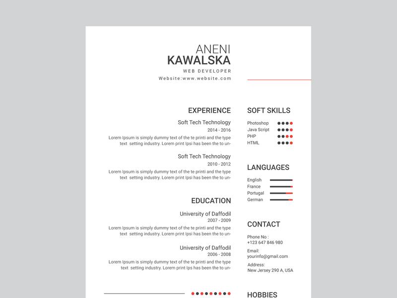 Resume Design By Nupur Akter On Dribbble