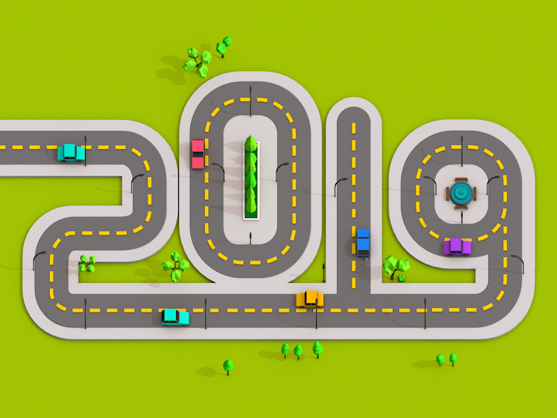 2019 - Road Low Poly 2019 c4d low-poly road