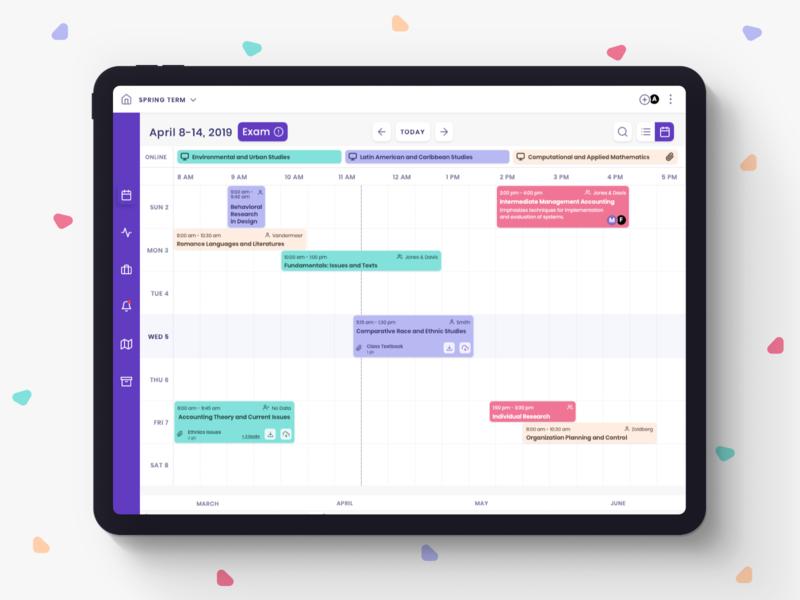 School Management App exam navigation search icons class timeline minimal wrapper menu calendar ipad pro scheduler schedule student app school management education react native ux ui app