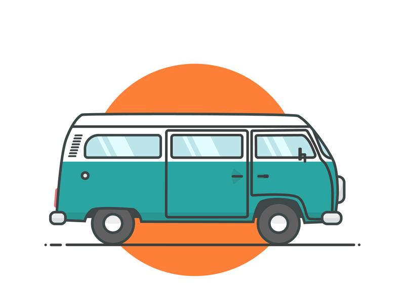 Combi van design ui flat exploration van travel vector illustrator illustration