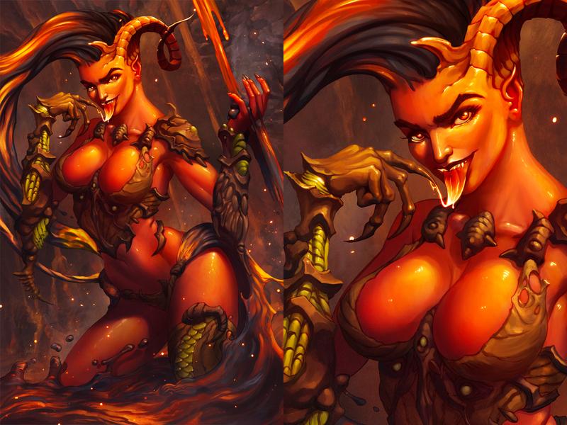 Devil Girl demon splash art woman pin up girl pin up illustration art fantasy procreate illustration devil horns hot lava magma devil girl