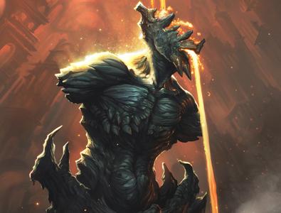 The Ideologue illustration demon fantasy procreate apocalypse ruins hell lagma lava statue surreal nihilism horror