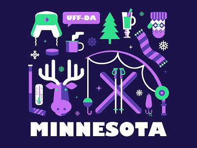Uff-Da Minnesota Winter Illustration hockey fishing moose winter uffda minnesota