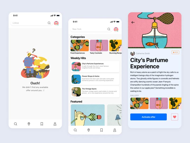 Mobile App - City Experiences mobile app mobile design mobile colors animation ux ui clean