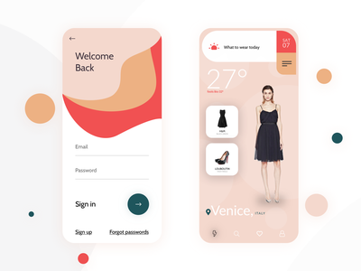 Outfit Suggestion Weather App outfit iphone ecommerce shop uxui signing pastelcolor weather weatherapp ecommerce design ios 12