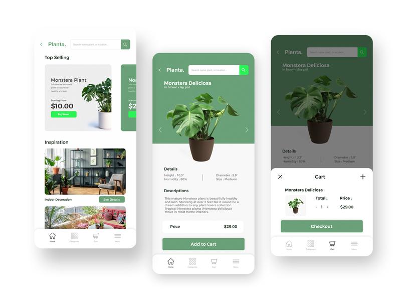 Plant App - Mobile App Design design app design ui design uidesign ui  ux ui user inteface userinterface mobile app design mobile ui