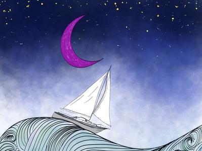 To The Sea line work lines purple night sky stars whimsical palkev digital art procreate ocean sea sailboats illustration sailboat purple moon