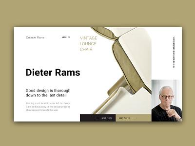 Dieter Rams. Homepage design ui ux design typography web deisgn homepage brand ux design uidesigner design