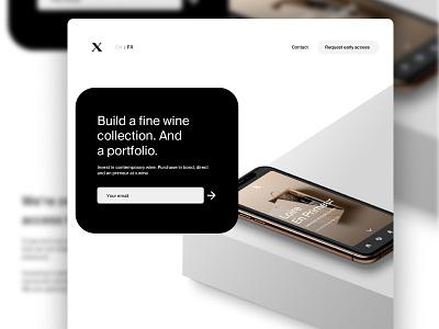 Landing page for x.wine web design mobile website web ui investing wine webdesign