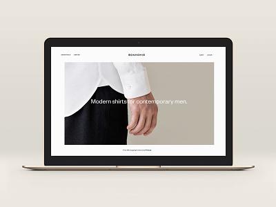 Bonhomie teaser fashion e-commerce website design shirt webdesign
