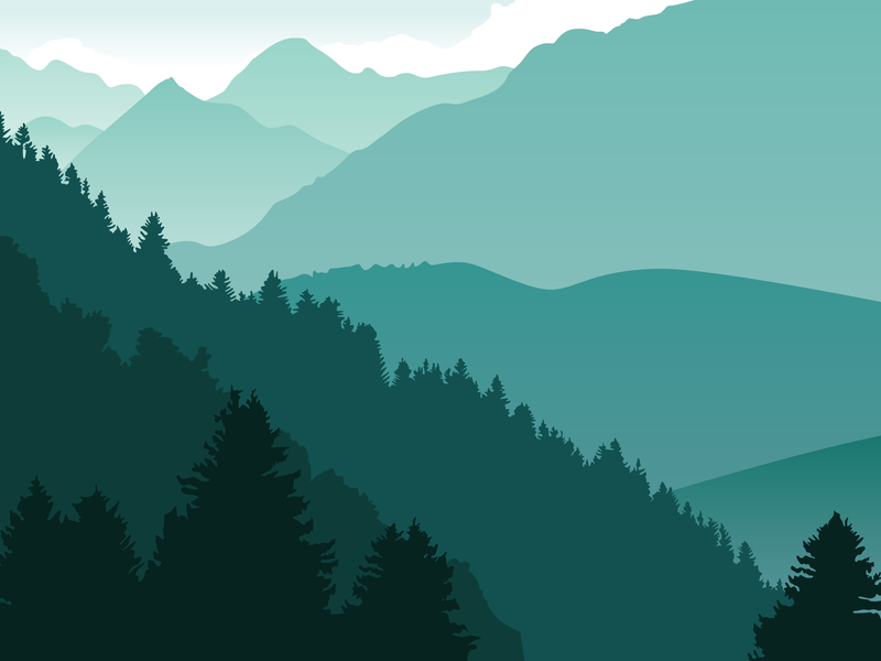 Teal Landscapes simple design simplified beautiful silhouette landscape silhouette mountainscape illustrator abstract vector design mountains colors color favorite color teal marquette adobe illustrator design vector illustration