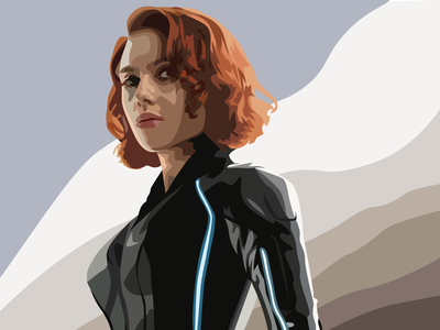 Black Widow Vector Portrait natalia romanova scarlett johansson comics marvelcomics redhead michigan designer illustrator freestyle vectorized vector portrait marvel black widow graphic art graphic design adobe illustrator design vector illustration