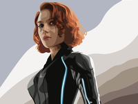 Black Widow Vector Portrait