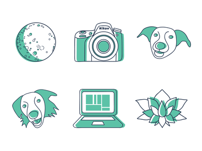 Personal Icons icons pack laptop computer icons design lotus flower moon camera graphic  design line art dogs personal personal icons icon icons set icons branding adobe illustrator design vector illustration
