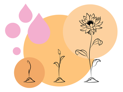Spring simple pastel colors design abstract water illustration line art lineart adobe illustrator flowers growing flowers may flowers april showers april springtime spring