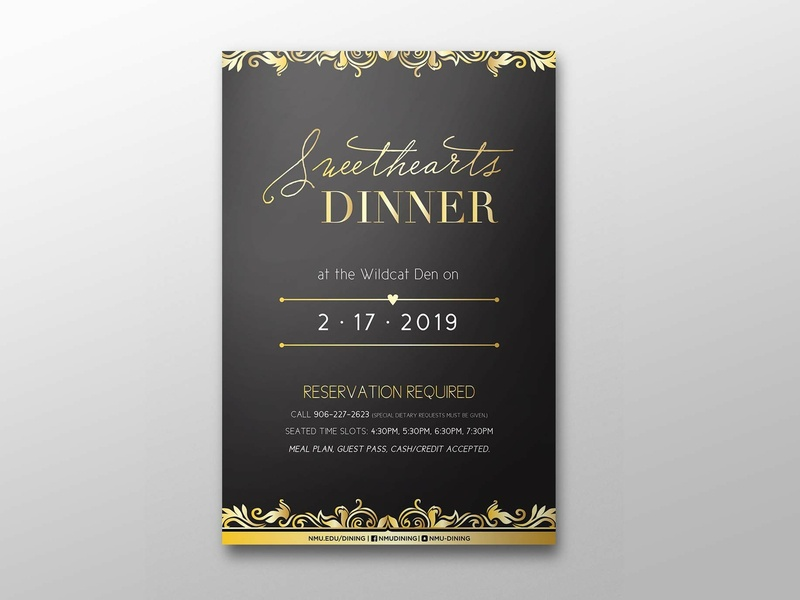 Sweethearts Dinner Event Poster fancy illustration vector design poster design gold accent gold filigree filigree reservation nmu northern michigan university dinner event elegant poster event poster valentines valentines day sweethearts dinner sweetheart sweethearts