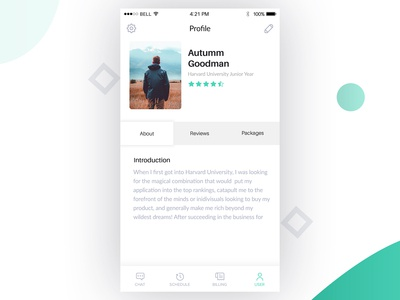 Profile page for Student App