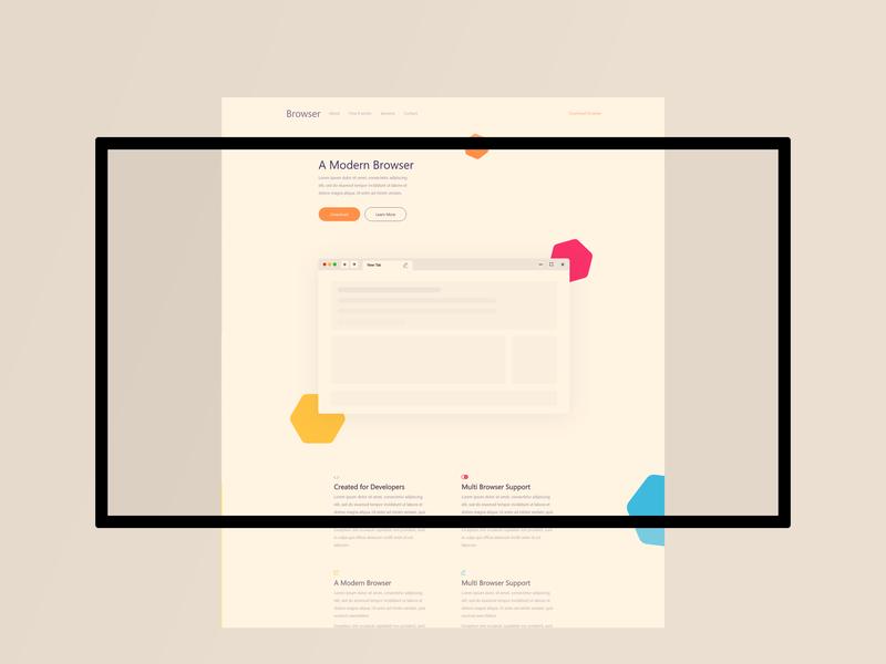Landing Page Design for a Modern Browser minimal flat website illustration web ux typography design ui uidesign