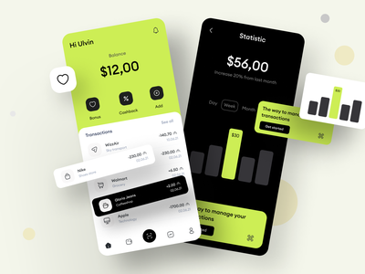 UI Banking App statistics page uiux banking app transactions page online payment fintech app mobile banking