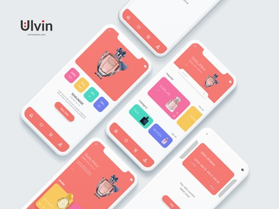 UI UX Perfume app design - Pantone Living Coral Color