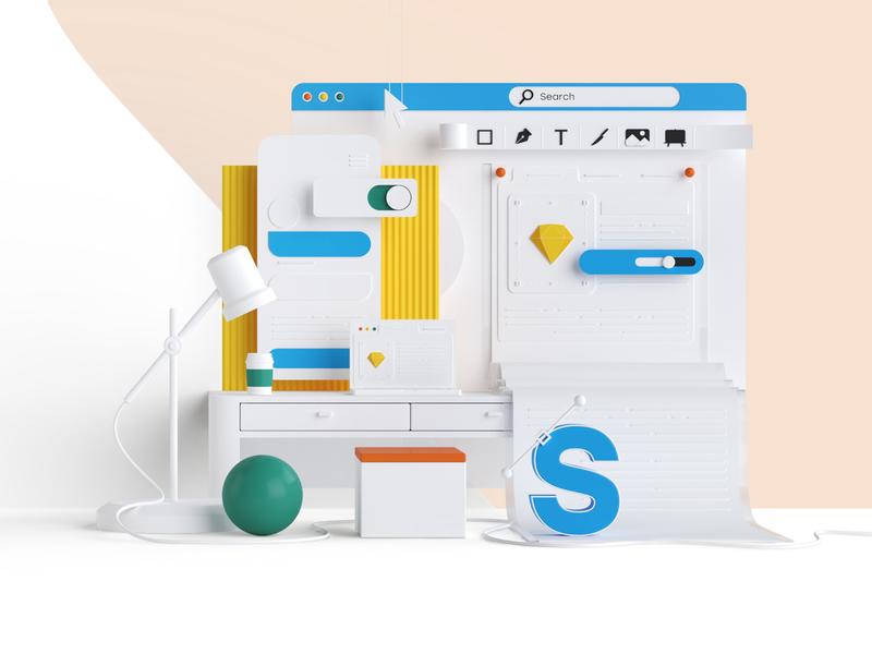 SDMK Design - 3D model artdirection czechdesign ui modern website illustration studio 3d czech design sdmk