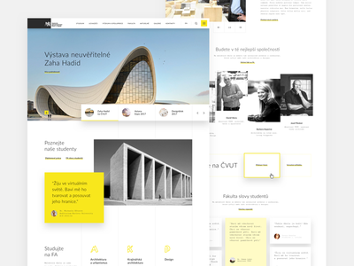 Technical University - Department of Architecture interfacedesign sketchapp university czech czechdesign website ux ui design minimalism architecture