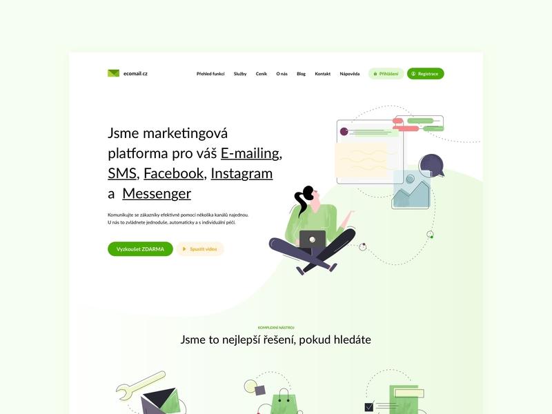 Ecomail website czechdesign layout interface modern artdirection czech sdmk illustration ux mail ui design