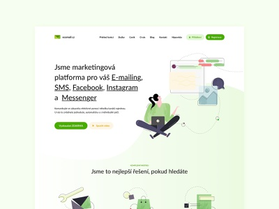 Ecomail website czechdesign layout interface modern artdirection czech sdmk illustration ux mail ui design