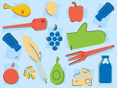 Farm To Table - Icons 50s fifties branding fruit food farm kitchen icon set icons