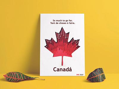 Poster Canada red paperart paper cut