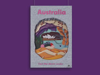 Australia Poster graphicdesign poster composition design colour australia cut photoshop paper