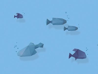 Spanish fish polygon art sea blue colour graphicdesign paper fish