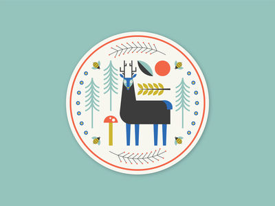 A Sip of the Woodlands animal forest rebound sticker mule folk art folk scandinavian tree deer geometric simple coaster design flat illustration