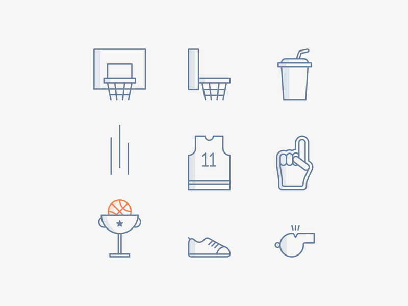 Alley-Oops I Did It Again Icon Set free freebie ncaa underbelly vector clean contest playoff flat minimal simple march madness mock madness basketball sports line icon line icon set icon