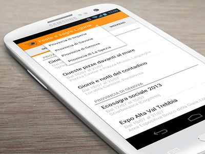 Events list android app orange events liguria italy list filter google samsung mockup