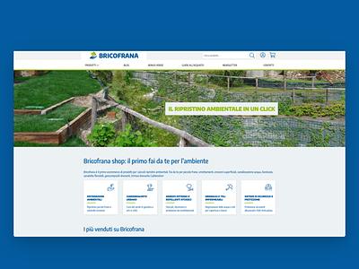 Bricofrana \ Website woocommerce wordpress bootstrap blue green ecology environment ecommerce ui web design web desktop website redesign